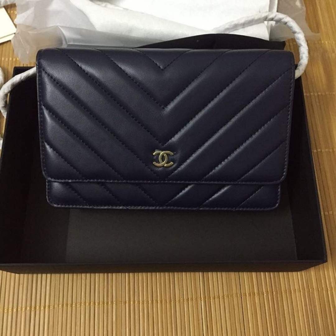 Chanel chevron WOC with charms a1899a58a0a95