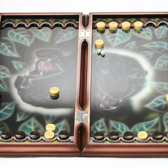 Chess-backgammon-pieces are carved, hand-made. Size 70 by 70 cm. In the kit there is also a casket for the figures. Both chess and casket are sold in cloth cases. A great gift for fans of this game. Delivery possible
