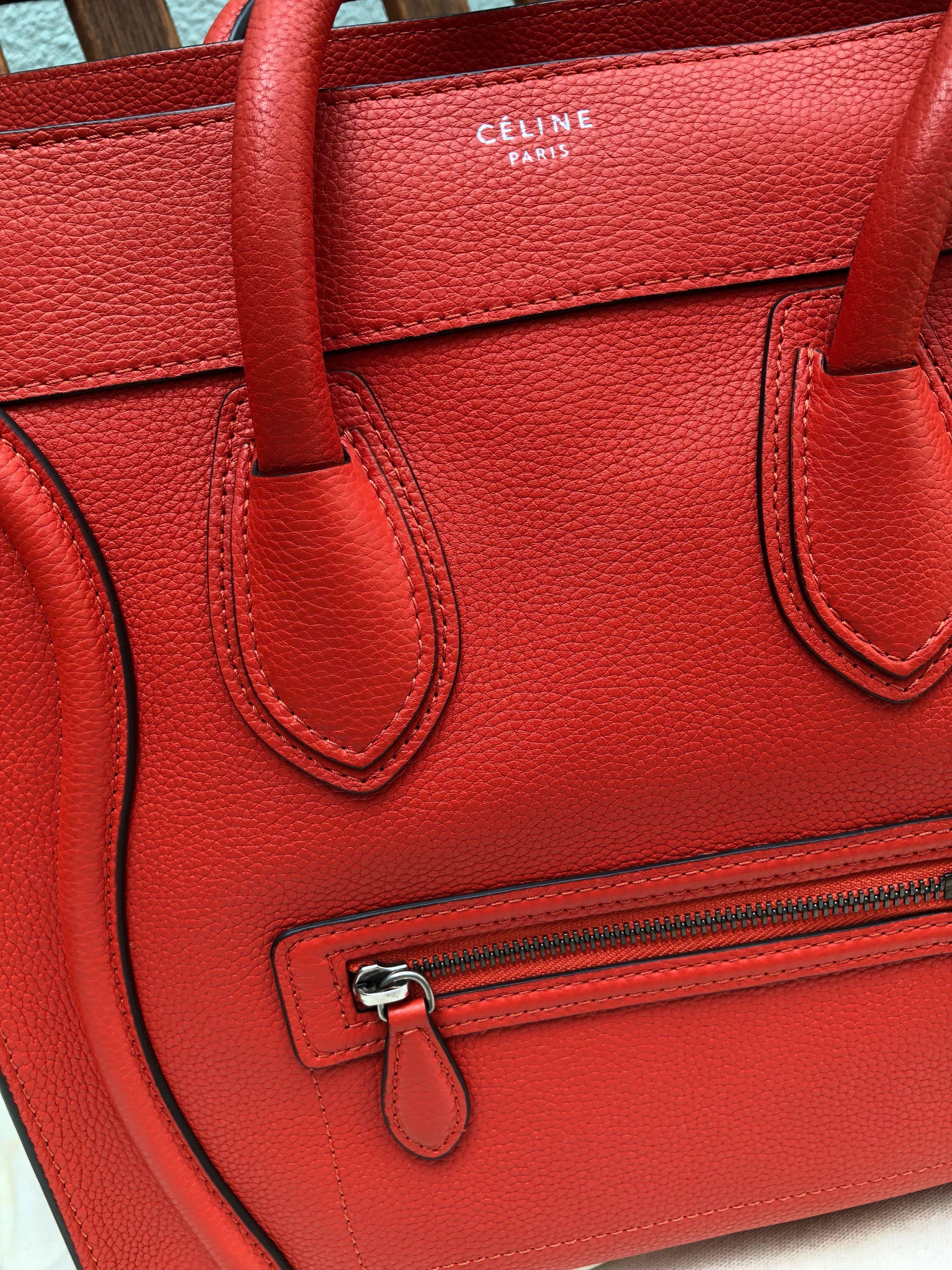 Céline Mini Luggage in Vermillion ecf8ee4462e67