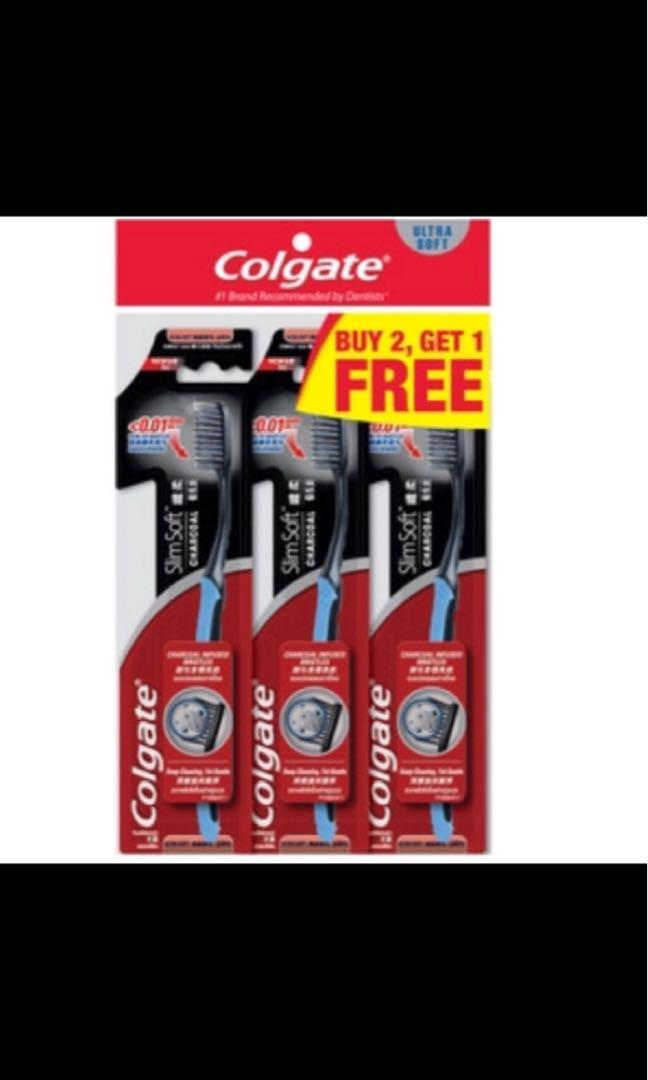 Colgate Slim Soft Toothbrush - Charcoal 2 + 1 free per pack