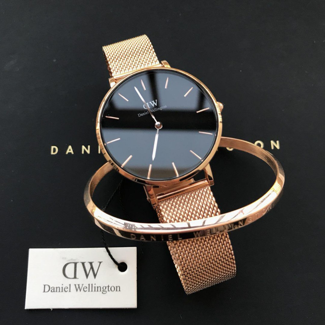 41418a207ce80 Daniel Wellington Classic Petite Melrose Black Ori + Small Rose Gold ...