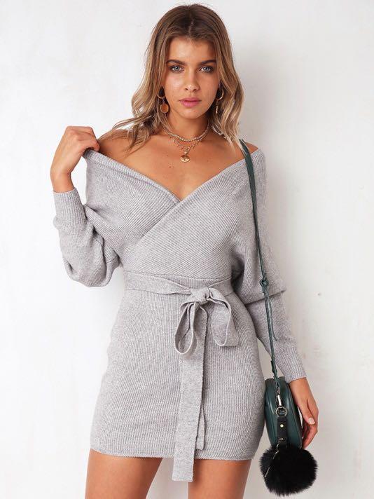 5676ee3e0 Grey Off Shoulder Dress