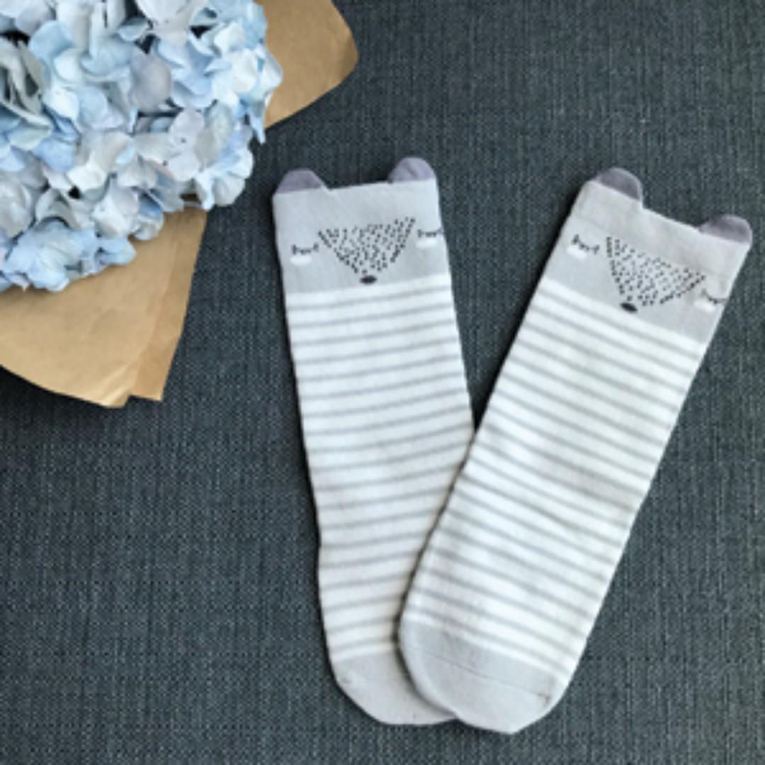 Grey Sleeping Fox - Animal Knee Length Socks