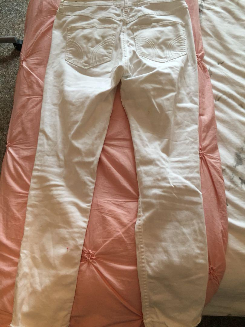 hollister high rise white distressed jeans