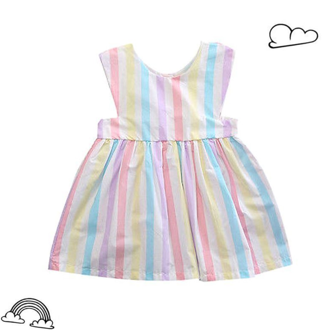 387ae09d2 🌟INSTOCK🌟 Pastel Rainbow Stripe Cotton Flare Dress Kids Baby ...