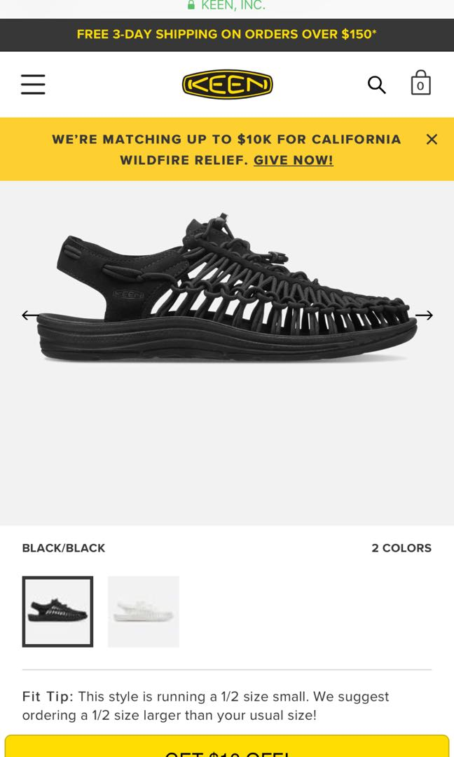 1760a1858941 Keen Uneek Black sandal size US 9