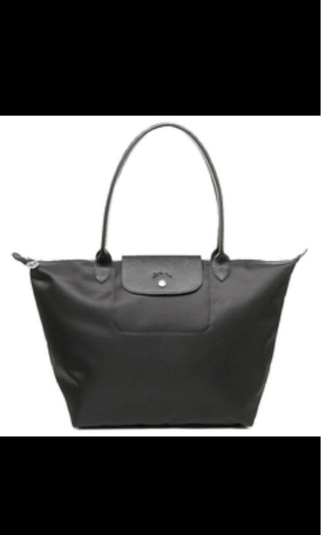 6c8c50b817c4 Longchamp Le Pliage Neo tote bag black large long handle 1899 ...