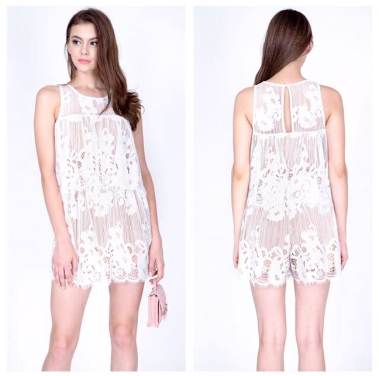 9775527d3d47 MDS white  nude lace romper or playsuit