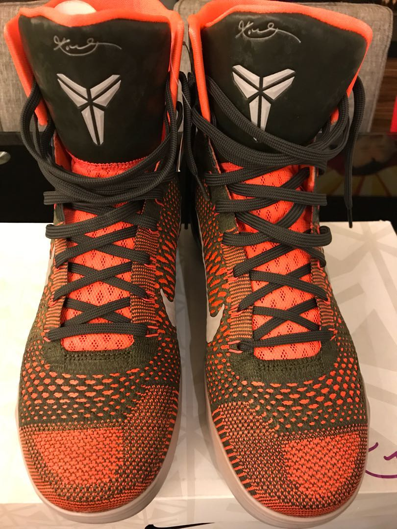6241a017de6 Nike Kobe 9 IX Elite Strategy Sequoia Orange Flyknit Bryant ...