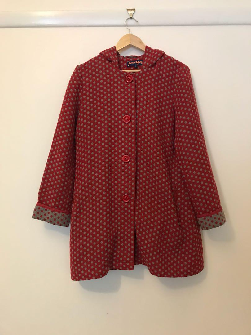 Red & Grey Hooded Coat