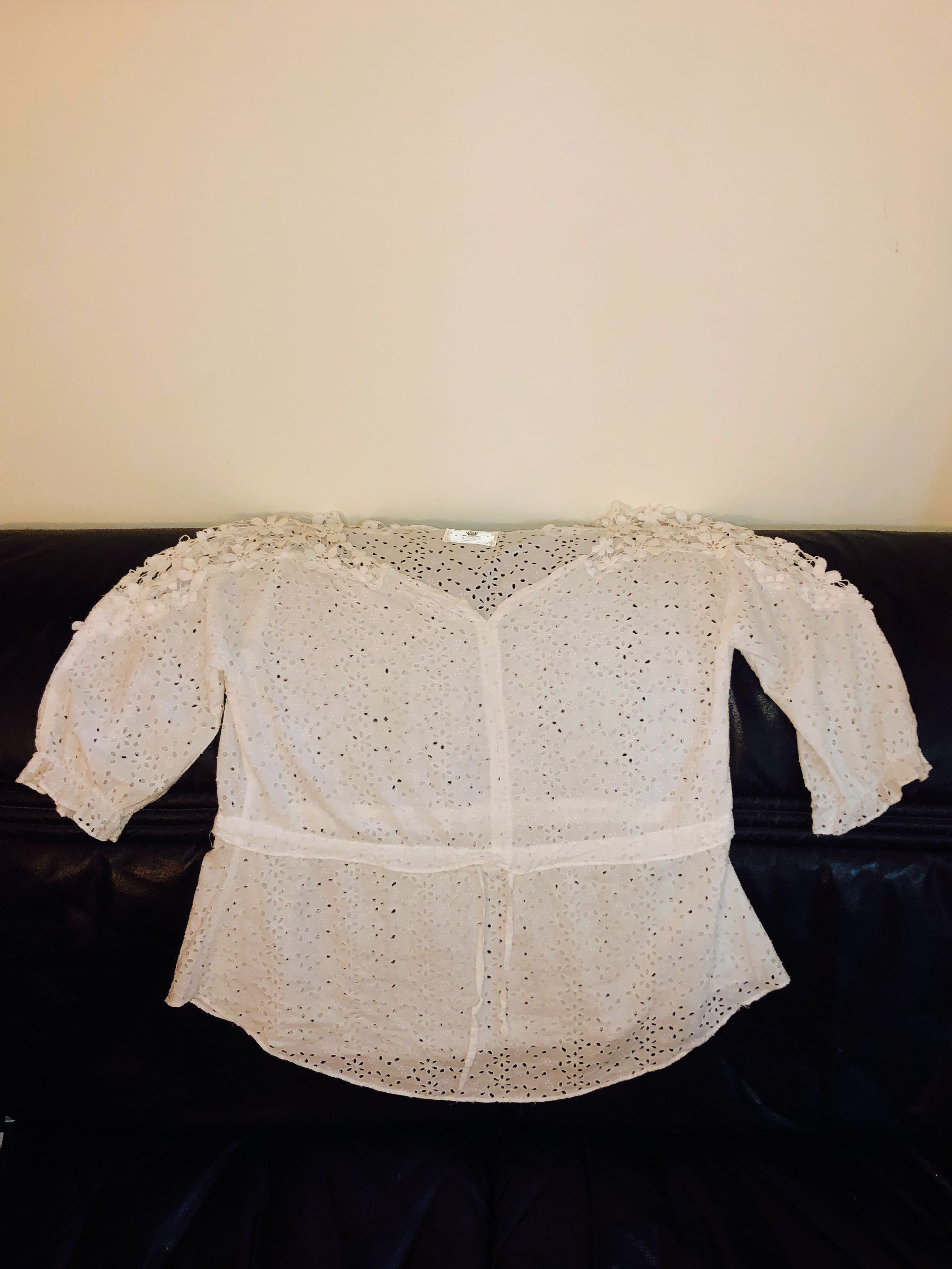 b1d34cdb4da230 Romantic Eyelet White Blouse with Elbow Length Sleeves, Women's ...