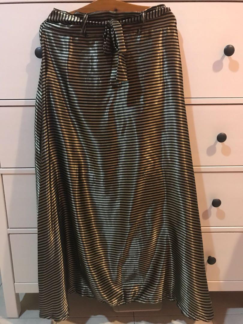 949a50d599 Shiny A-line long skirt, Women's Fashion, Clothes, Dresses & Skirts ...