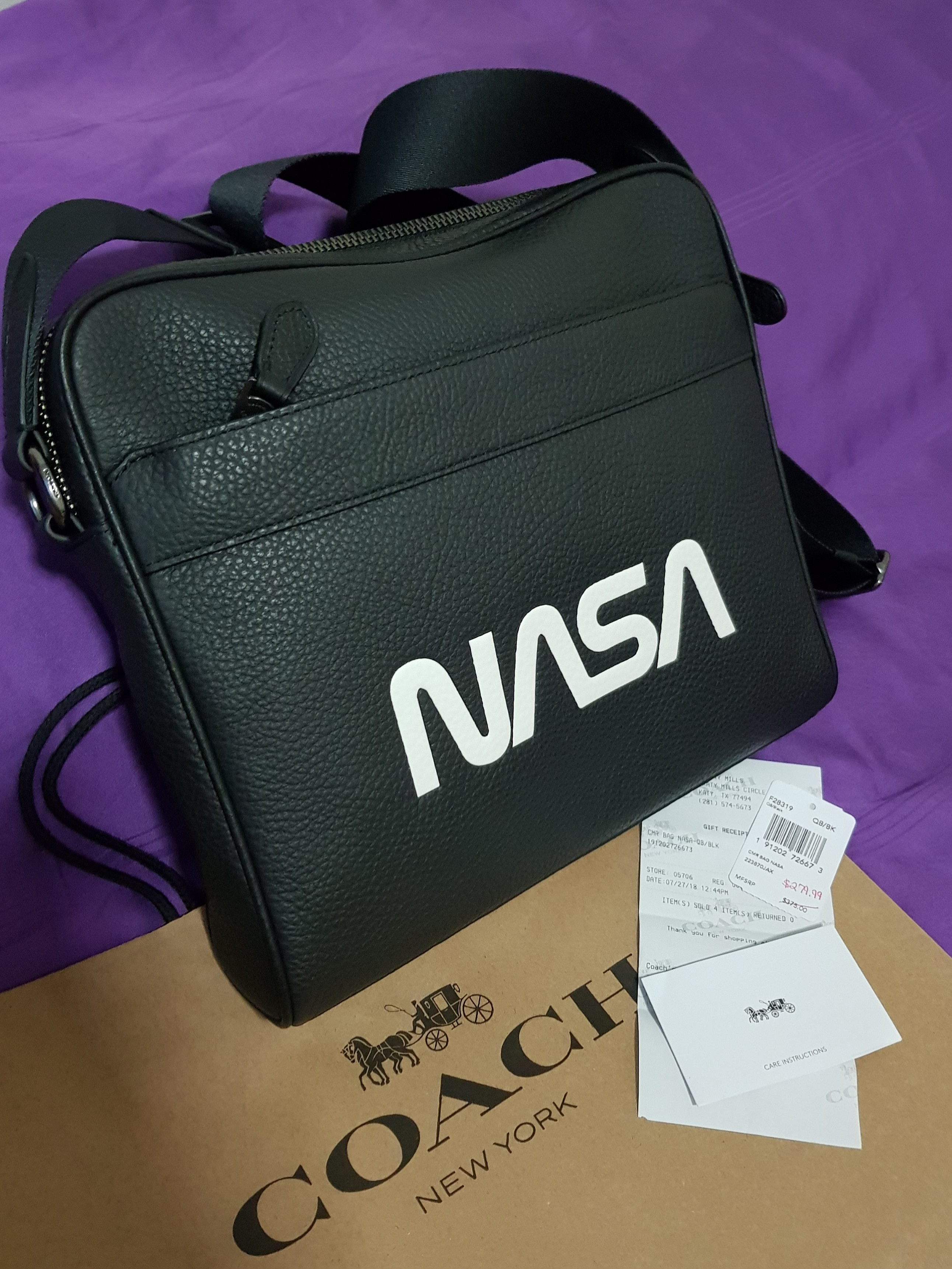 Coach Charles Camera  Sling  Crossbody Bag in NASA Design- Black (100%  Authentic) 7509a8c750318