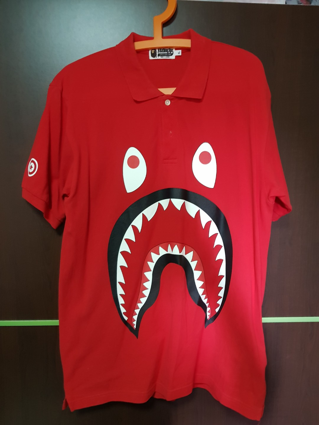 de1f5b6a WTS Used Bape Shark Red Polo Tee XL, Men's Fashion, Clothes, Tops on  Carousell