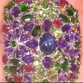 (239Cts) Sapphire  Blue Star Ruby Amethyst Period  Sapphire Ruby Orange Gemstones