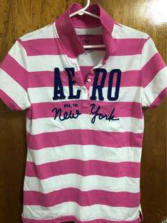Pink and white stripe polo shirt