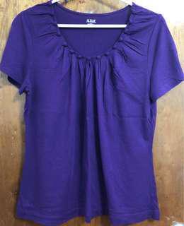 Women's purple scoop-neck blouse