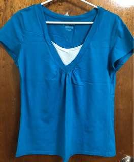 Women's blue v-neck cap-sleeved blouse