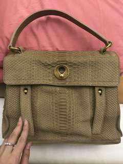New condition! Ysl Muse two Python full leather exotic bag in Nude Tan Matte