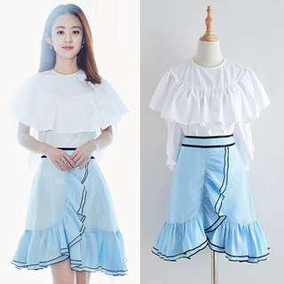 Blue ruffles skirt mini skirt short high waist A line chiffon skirt pretty light blue stylish #mcsfashion