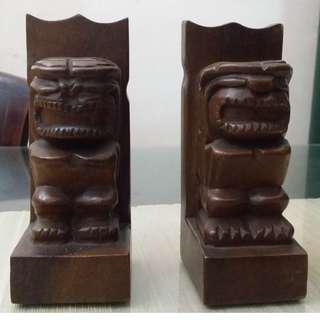 vintage wooden bookends Tiki (pair)