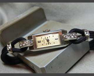 勞力士30年代白金鑽石女庒錶