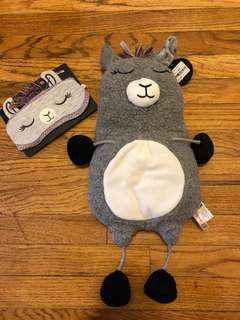 Llama hot water bottle and matching eye mask