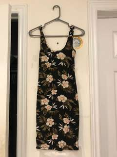 Tropical Print Bodycon Dress