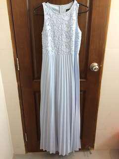 Powder blue crochet pleated formal maxi dress
