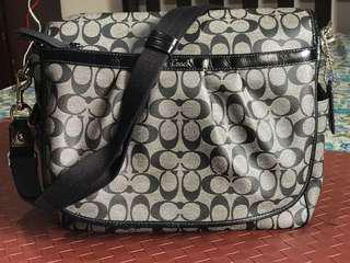 COACH PVC Coated SIGNATURE BABY MESSENGER DIAPER BAG TOTE LAPTOP CASE