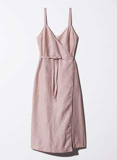 Aritzia Wilfred Pink Linen Blend Astere Dress NWOT Size XS