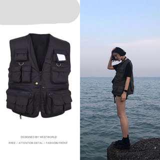 🚚 軍事機能二級甲ins吳亦凡中國有嘻哈同款多功能口袋男女背心