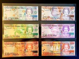 Beautiful Cayman Islands Monetary Authority 🇰🇾 1, 5, 10, 25, 50, 100 Dollars banknote brand new UNC full set