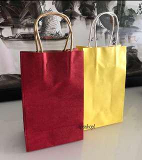 Red / yellow paper bag or Kraft bag for goodies bag, event door gift carrier
