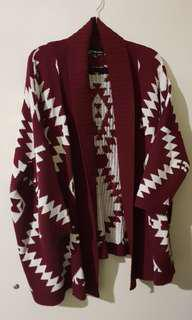 Ice | Burgundy Oversized Cardigan