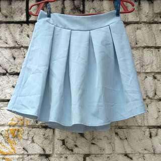 Sky Blue Vertical Striped Skirt