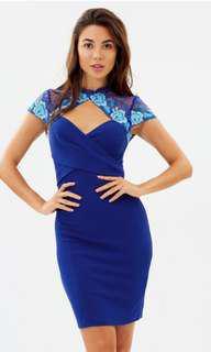 Embroided cobalt blue dress