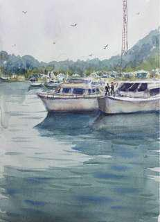 Watercolor painting Boats