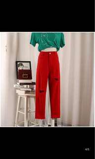 🚚 紅色牛仔褲