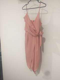 Blush pink wrap style dress