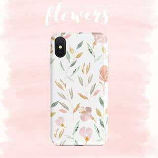 Watercolour Neutral Floral Flowers & Leaf Nature iPhone Case