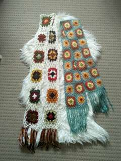 Hand knitted Floral Fall Scarves