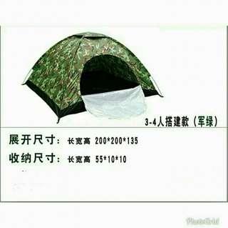 TENT 露營用品 3-4人戶外手建單門帳篷 搭建款 露營帳篷 軍綠迷彩 Camping