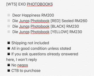 WTS EXO PHOTOBOOK DEAR HAPPINESS DIE JUNGS