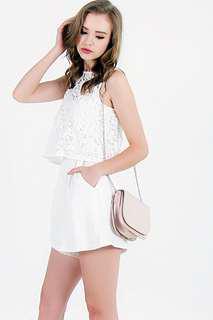 BNIP LOVET White Crochet Overlay Romper