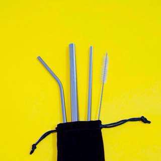 Silver Set Metal Straws