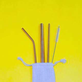 Rose Gold Set Metal Straws