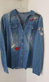 Patch jeans shirt
