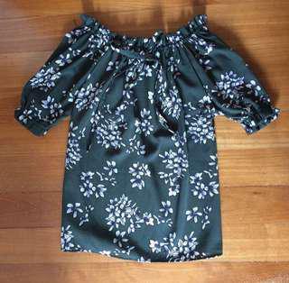 BN dark green floral off shoulder top