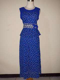 Longdress pakaian wanita pita biru